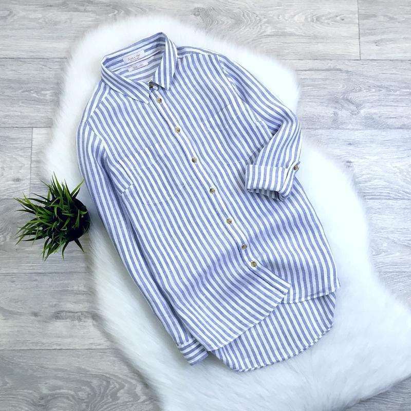 Льняная рубашка в полоску