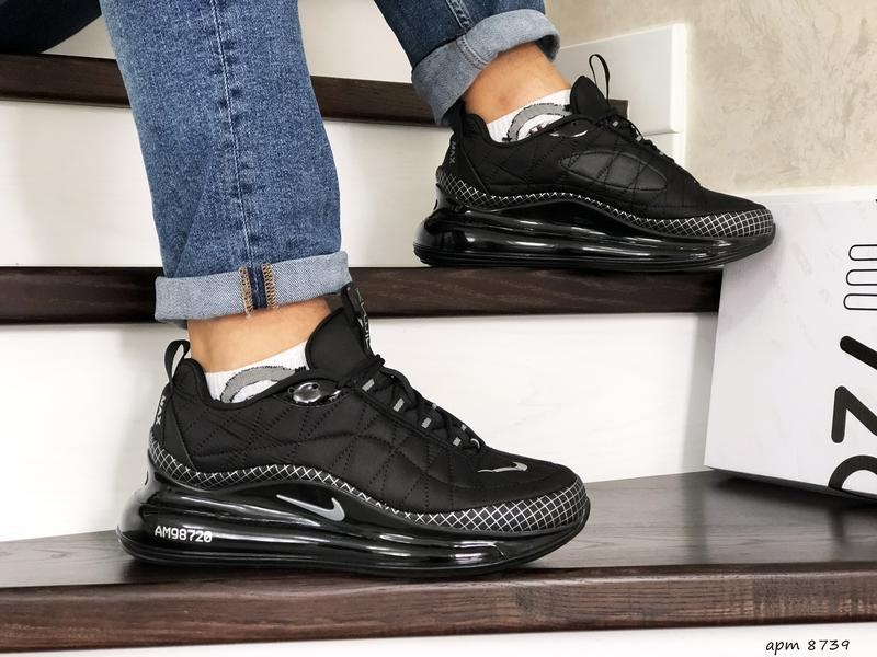 Nike air max 720 black white мужские демисезонные кроссовки на...