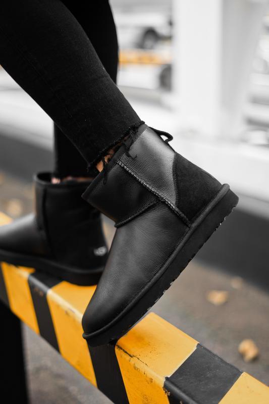 Ugg classic leather black замшевая пятка женские зимние угги с...
