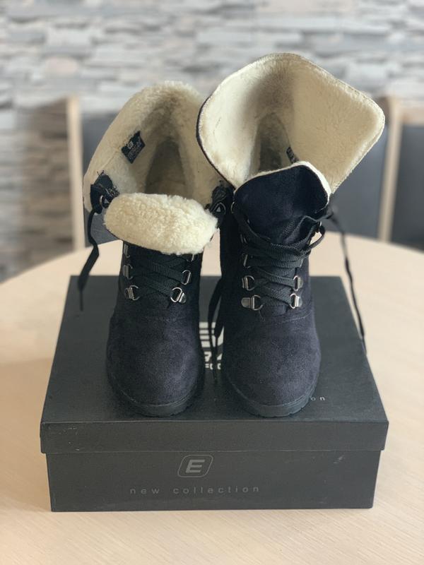 Ботильоны чёрные зимние на каблуке