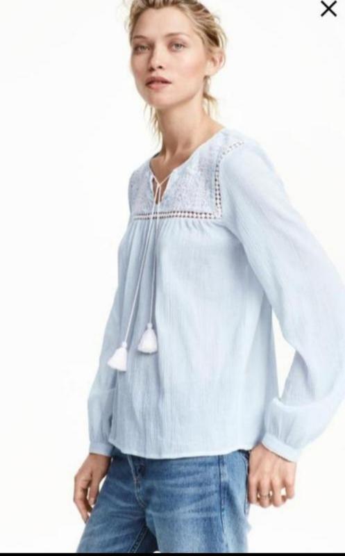 Блузка рубашка с вышивкой свободного кроя от h&m