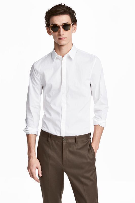 Белая стрейчевая рубашка h&m , slim fit !