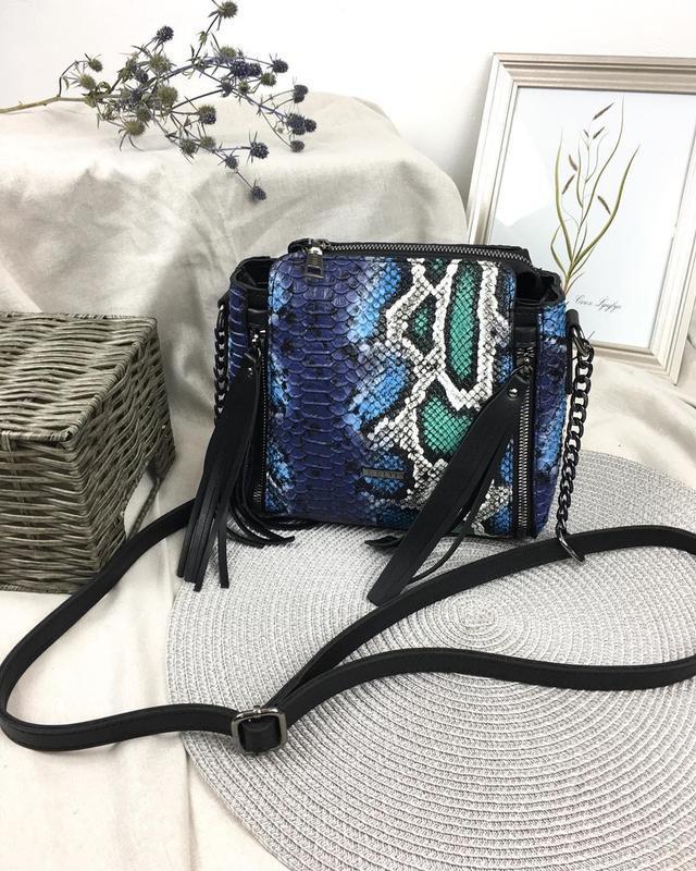 2 цвета! сумка голубая змея рептилия кросс боди