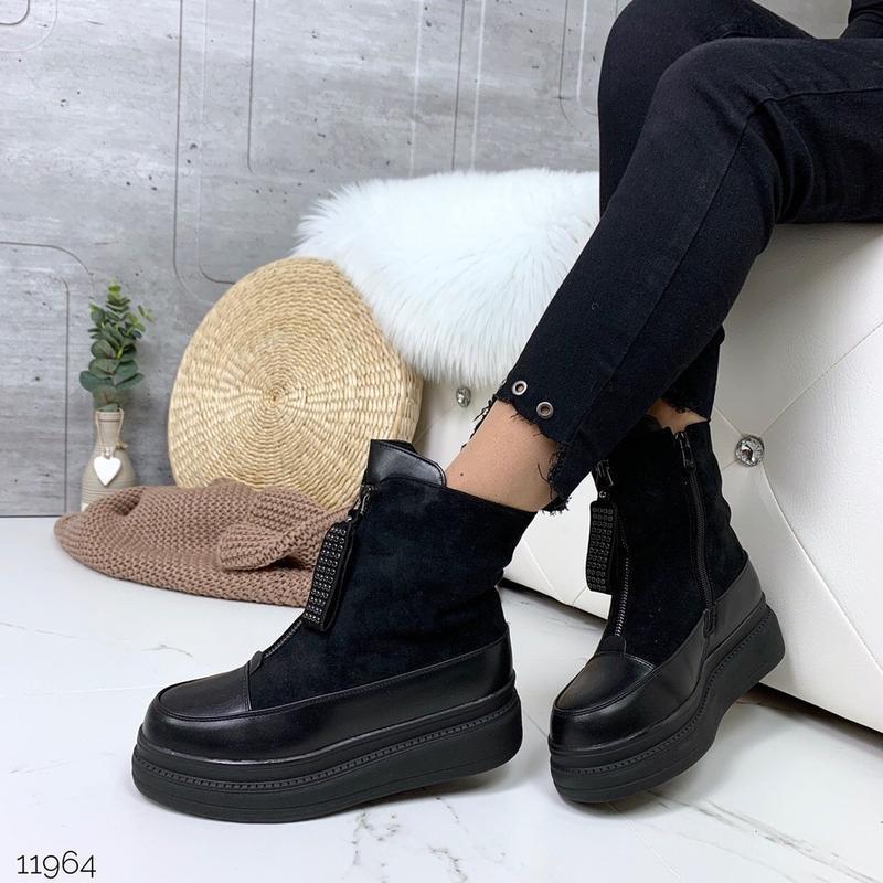 ❤ женские черные зимние ботинки сапоги полусапожки ботильоны н...