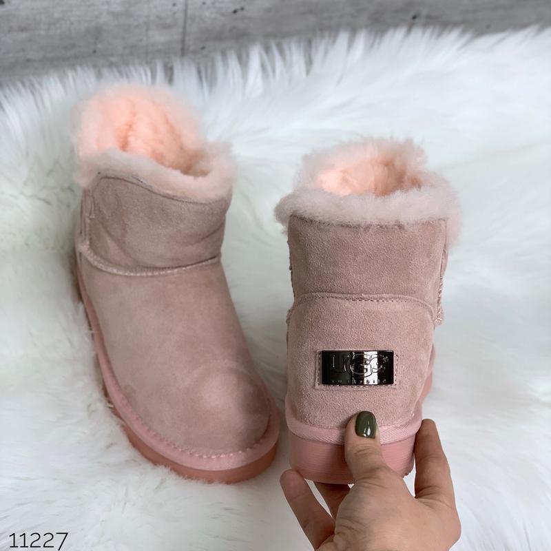 ❤ женские пудровые зимние угги ugg ботинки сапоги полусапожки ...
