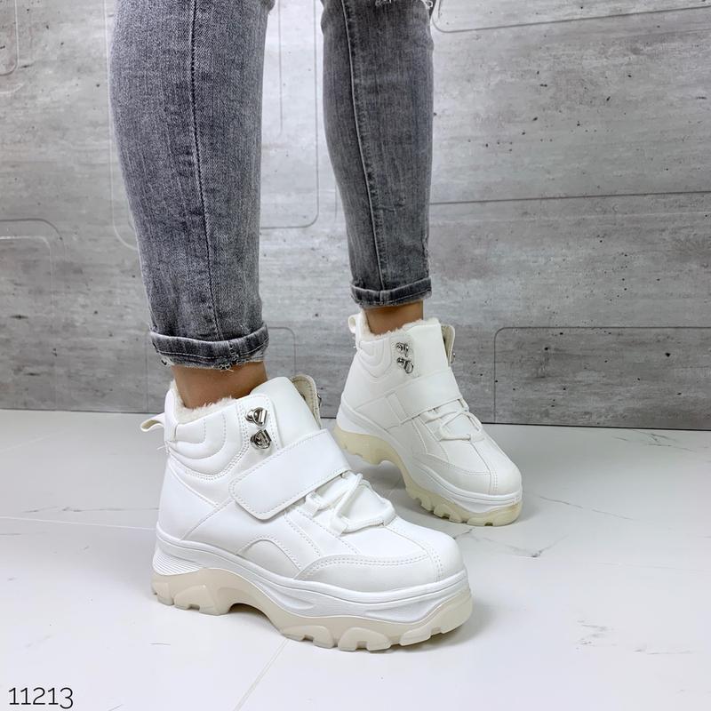 ❤ женские белые зимние ботинки сапоги полусапожки ботильоны на...