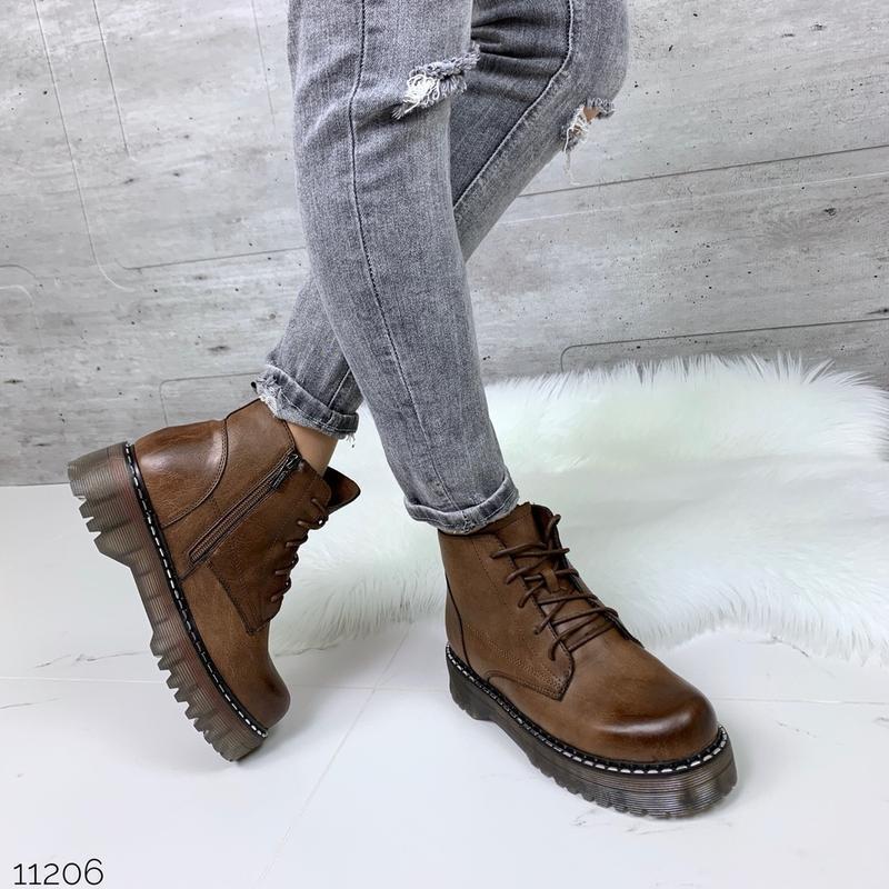 ❤ женские коричневые зимние ботинки сапоги полусапожки ботильо...