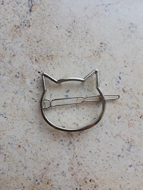 Заколка кошка, серебро