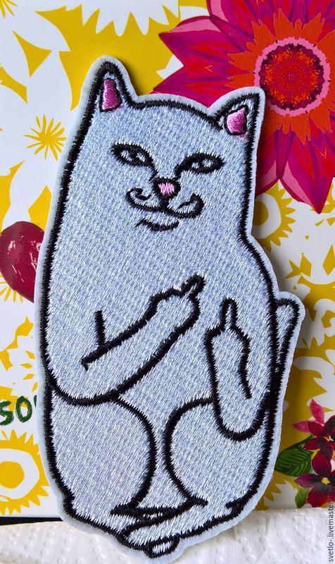 Патч, нашивка, кот что показывает фак, нашивка