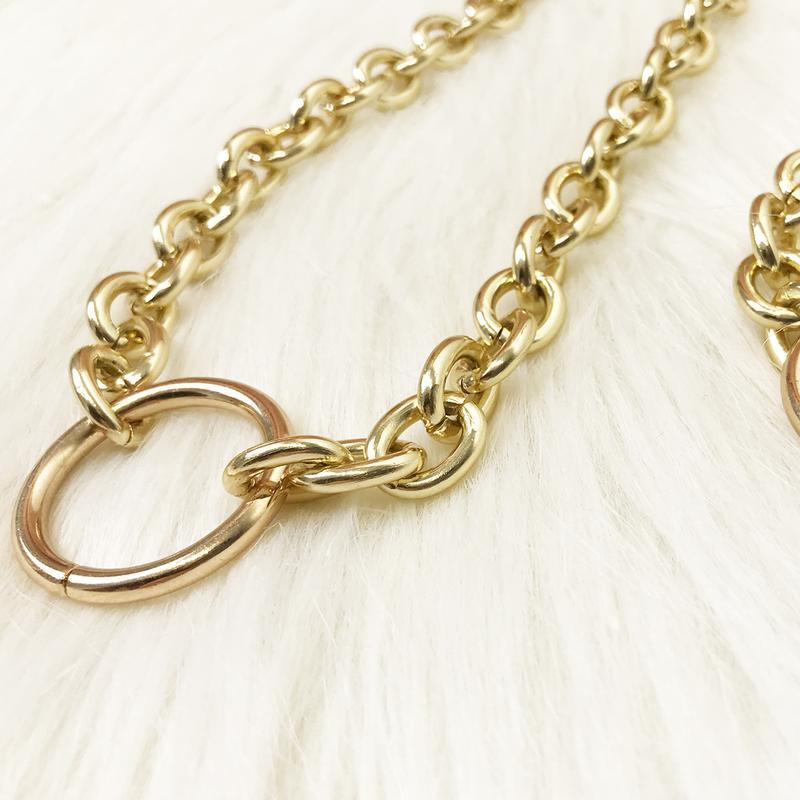 Цепочка с крупными звеньями и кольцом, золото - Фото 4