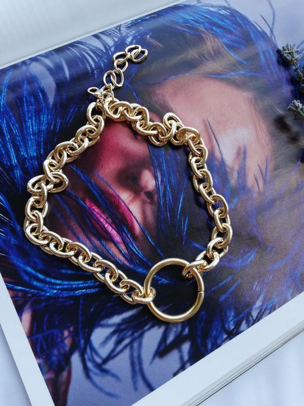 Цепочка с крупными звеньями и кольцом, золото - Фото 5