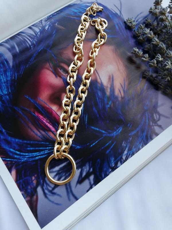 Цепочка с крупными звеньями и кольцом, золото - Фото 6