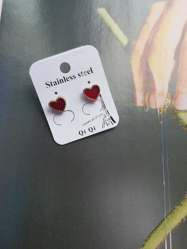 Серьги красные сердца - Фото 2