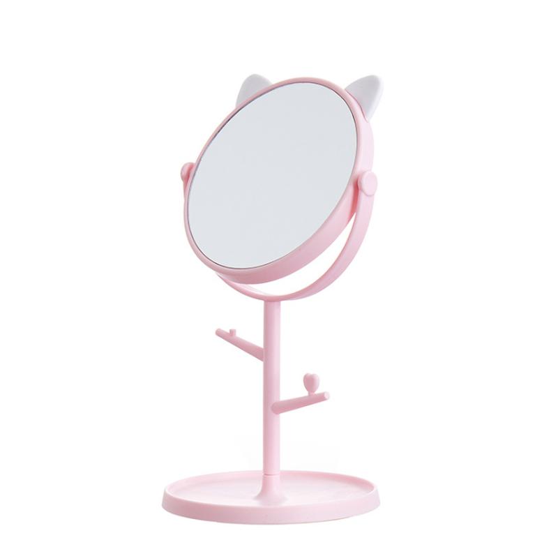 Зеркало косметическое, на подставке с ушками, розовое