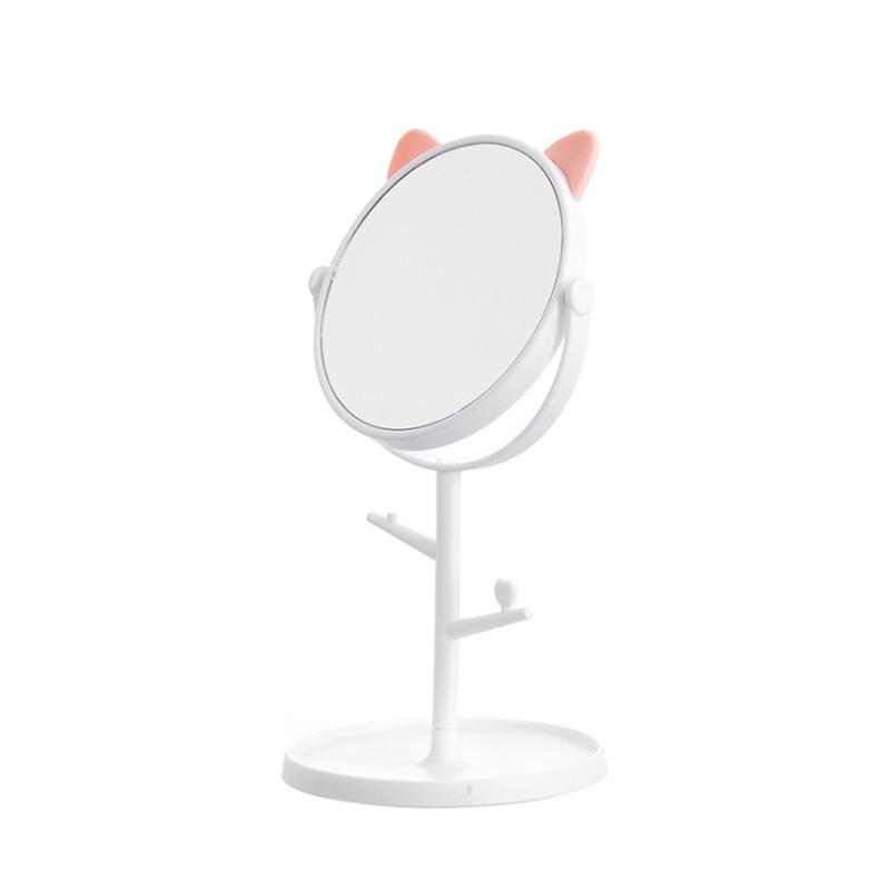 Зеркало косметическое, на подставке с ушками, белое