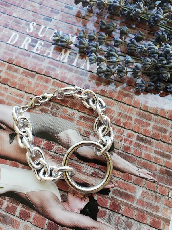 Браслет с крупными звеньями и кольцом,серебро - Фото 2