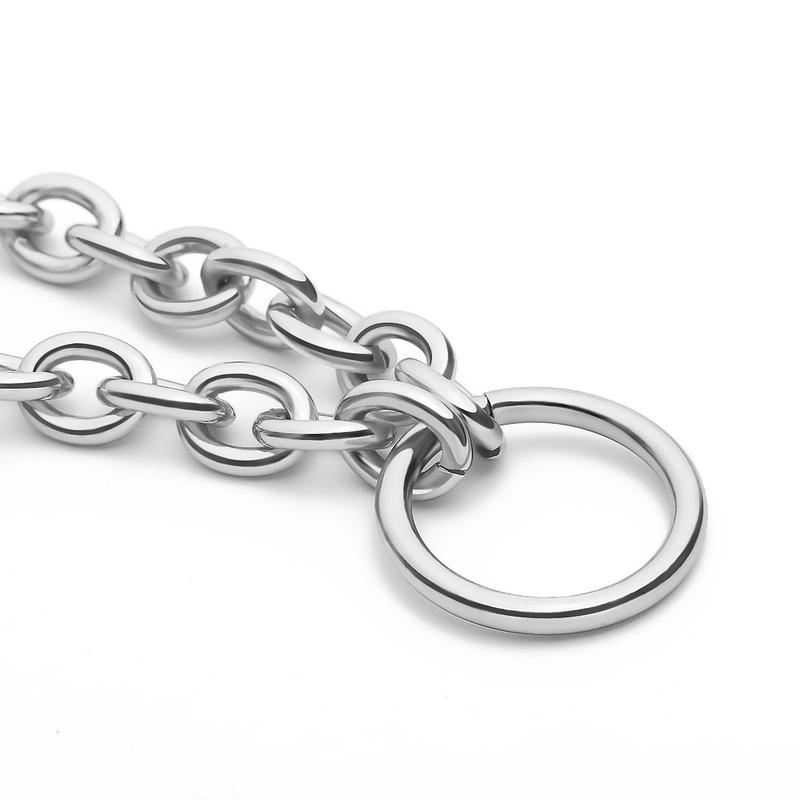 Браслет с крупными звеньями и кольцом,серебро - Фото 3