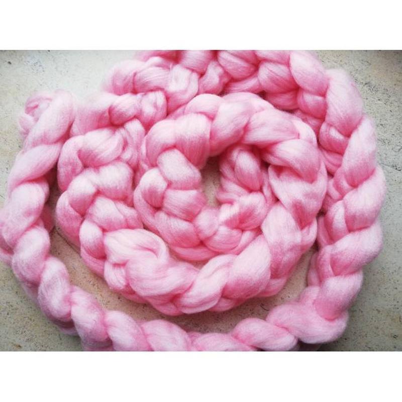 Шарф крупной вязки, вязаный шарф, розовый - Фото 2