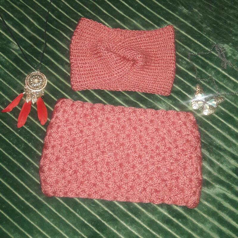 Набір снуд і повязка-чалма. колір персиковий, пастельний