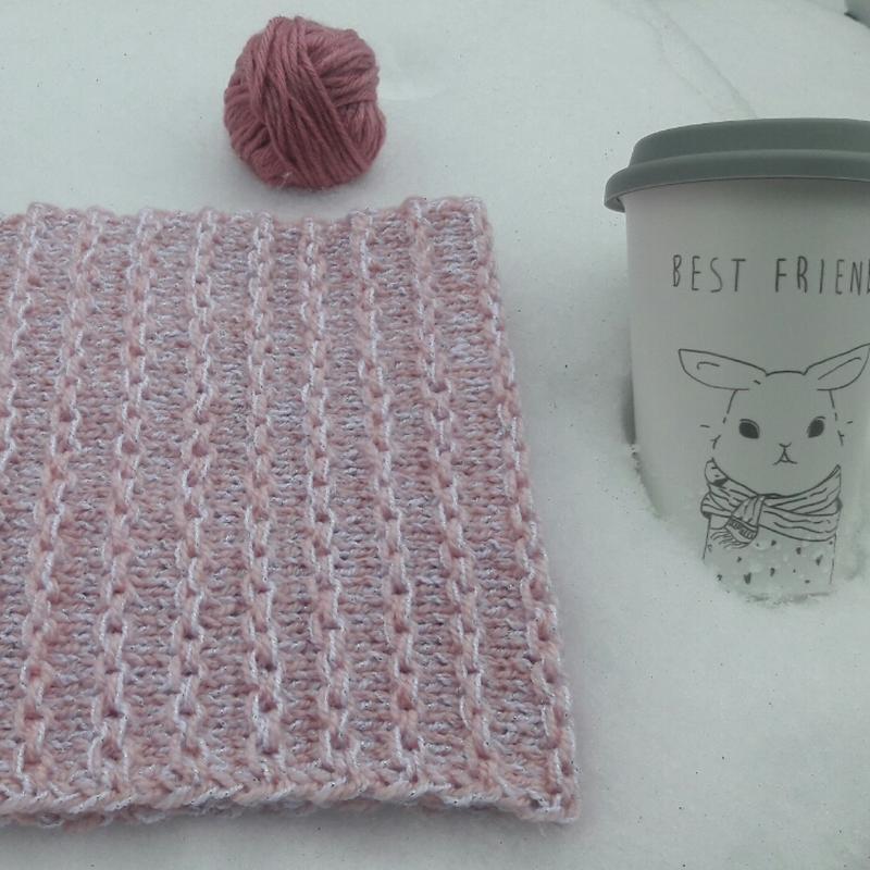 Рожево-білий снуд з срібною ниткою/розово-белый снуд с серебря...