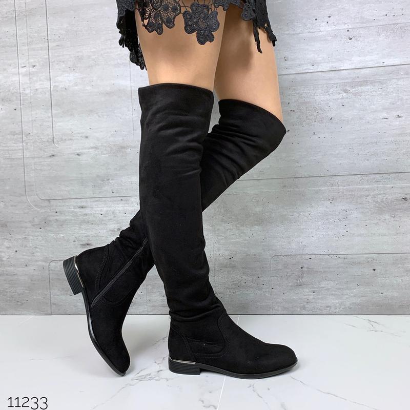 Замшевые сапоги ботфорты на низком каблуке,высокие чёрные замш...