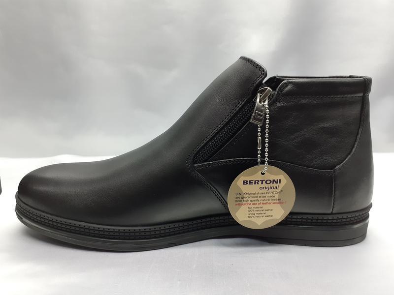 Зимние кожаные классические ботинки на молнии bertoni
