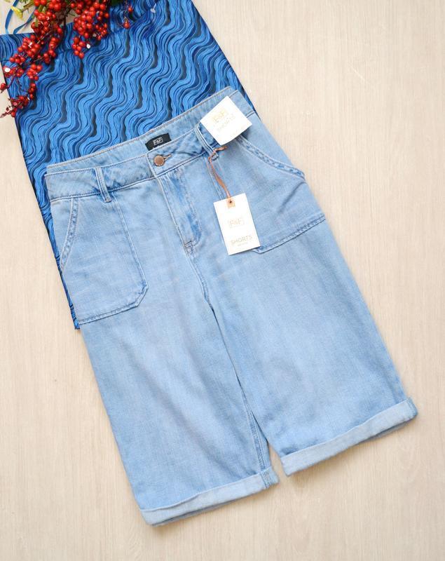 Красивые джинсовые шорты с подворотом f&f 12 40 l
