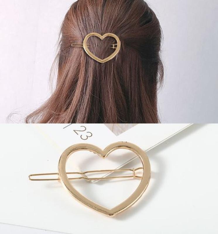Заколка для волос золотистое сердце