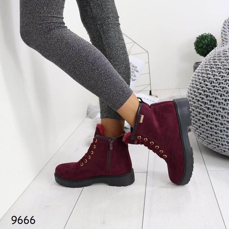 Sale!бордовые ботинки марсала зимние