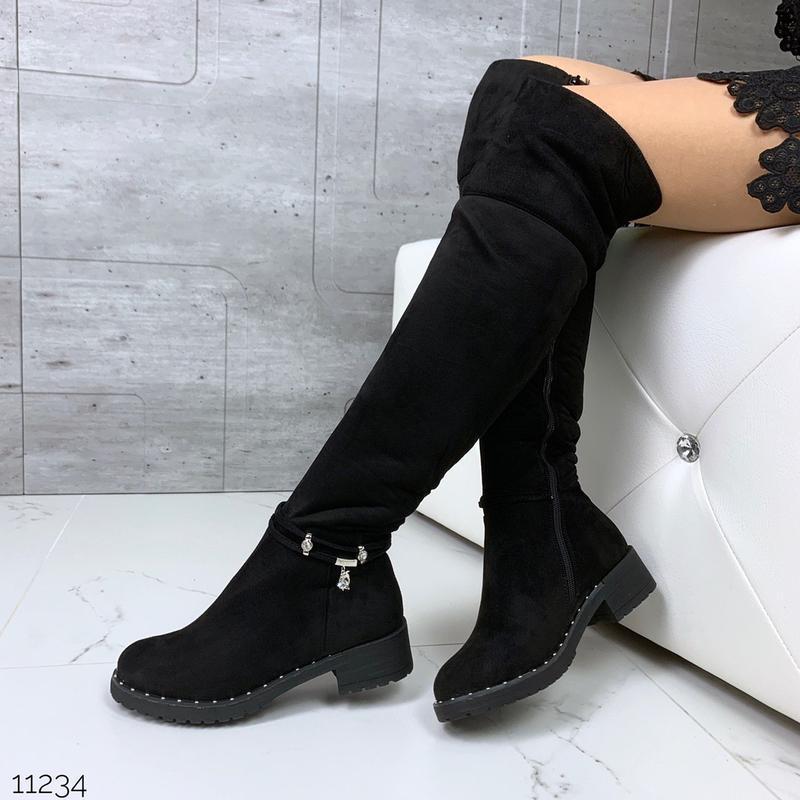 Зимние сапоги ботфорты на низком каблуке,высокие тёплые ботфор...