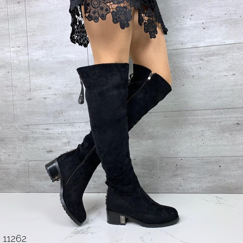 Зимние сапоги ботфорты чёрного цвета,замшевые чёрные ботфорты ...