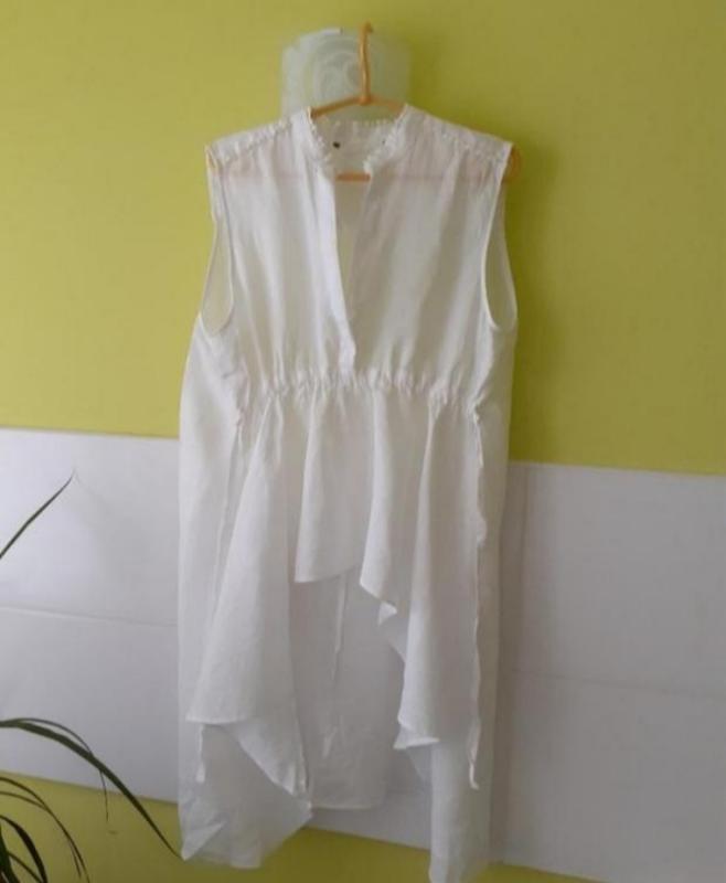 Белая льняная рубашка туника блузка