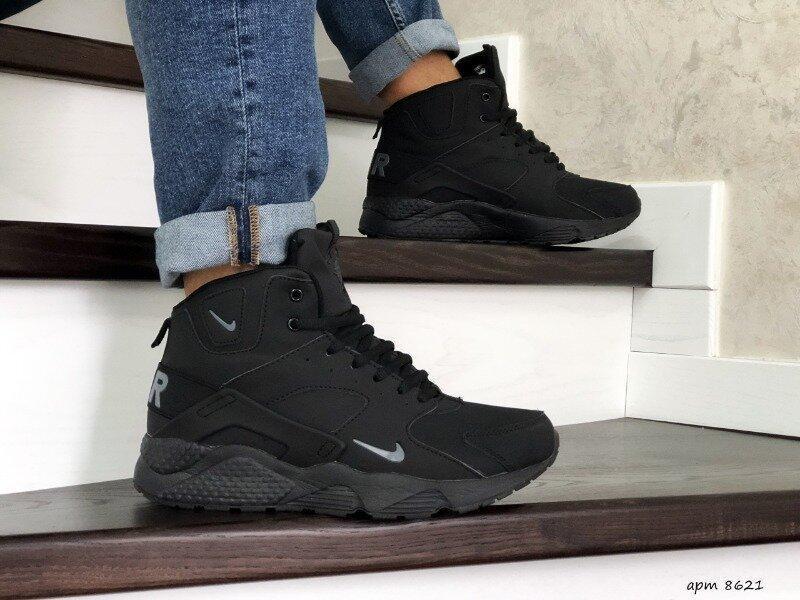 Зимние ботинки nike huarache кожа зимові мужские кроссовки