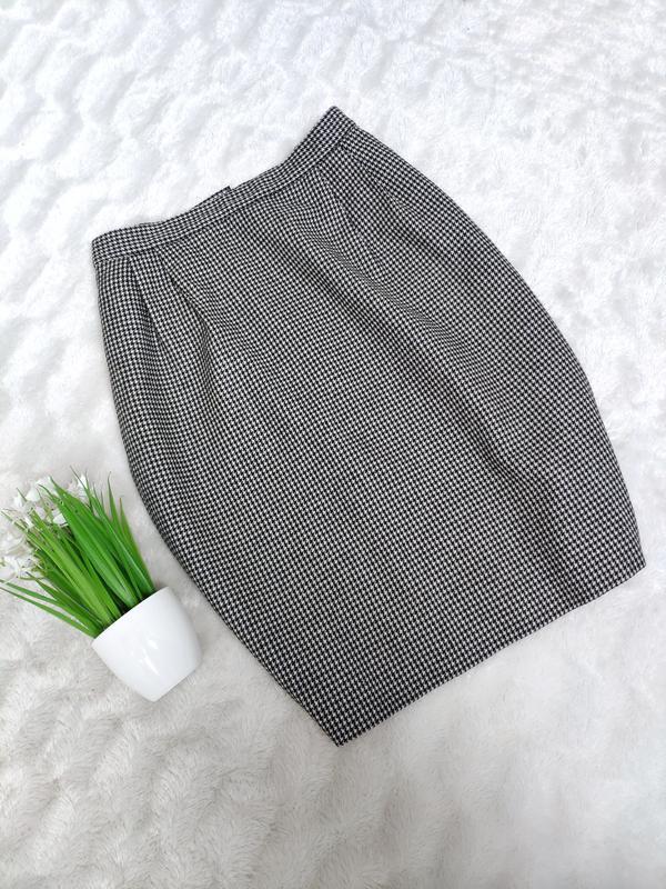 Теплая юбка-миди в гусиную лапку шерсть, р-р uk 12/s