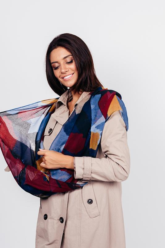 Яркий снуд круговой шарф хомут бордо синий в наличии - Фото 7