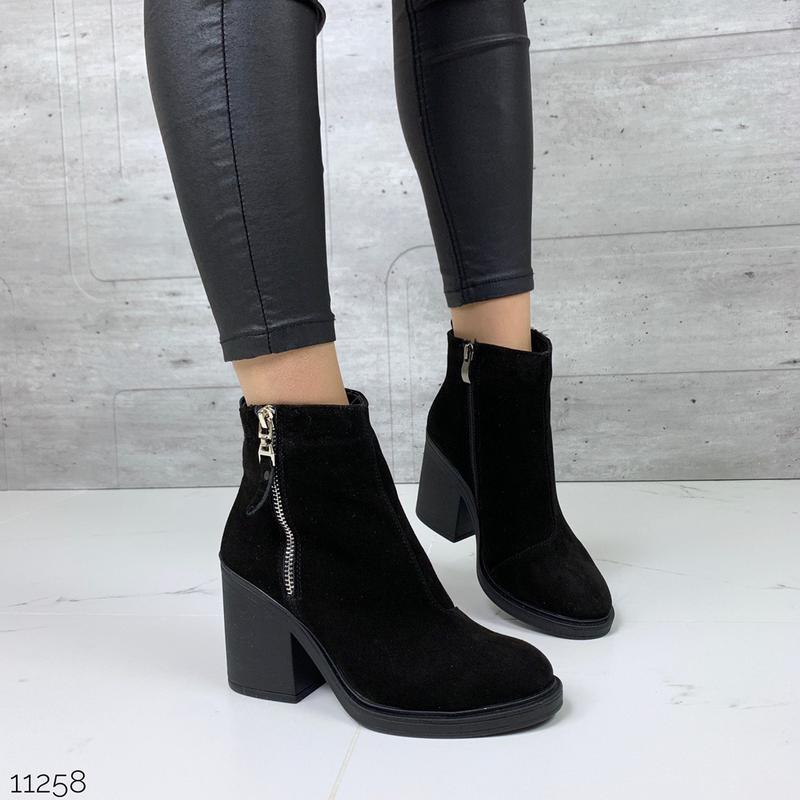 Зимние ботильоны из натуральной замши,чёрные замшевые ботинки ...