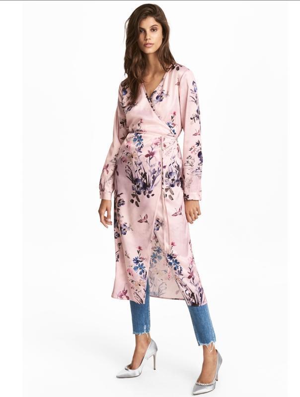 Стильное платье халат h&m, накидка на запах в цветочный принт
