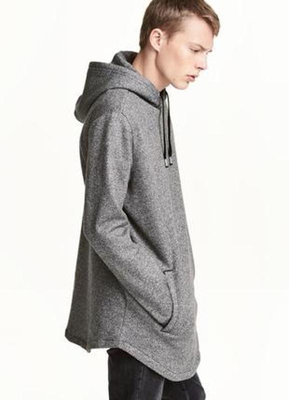 Длинное байковое худи серого цвета h&m - Фото 2