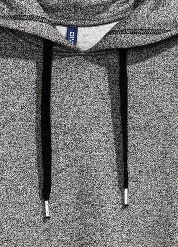 Длинное байковое худи серого цвета h&m - Фото 3
