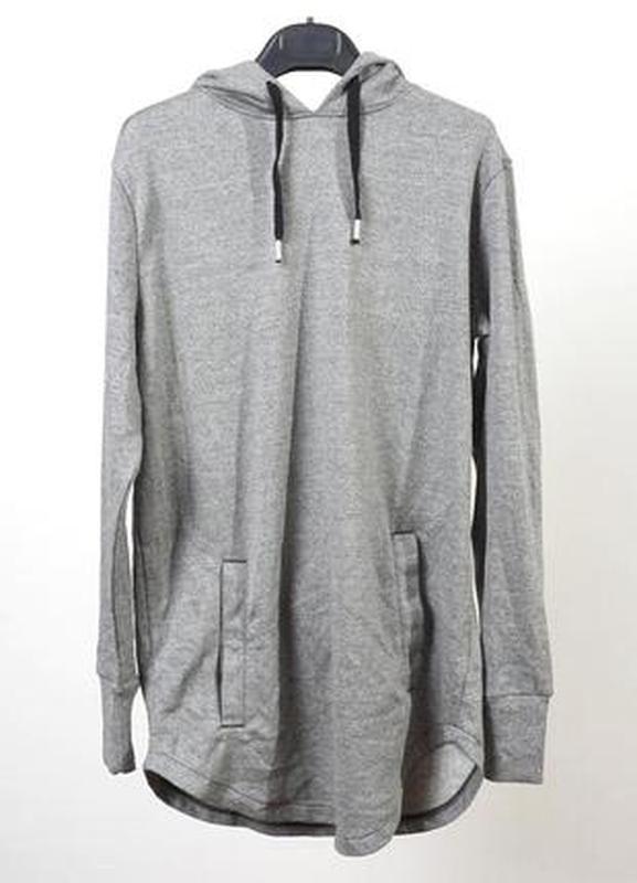 Длинное байковое худи серого цвета h&m - Фото 4