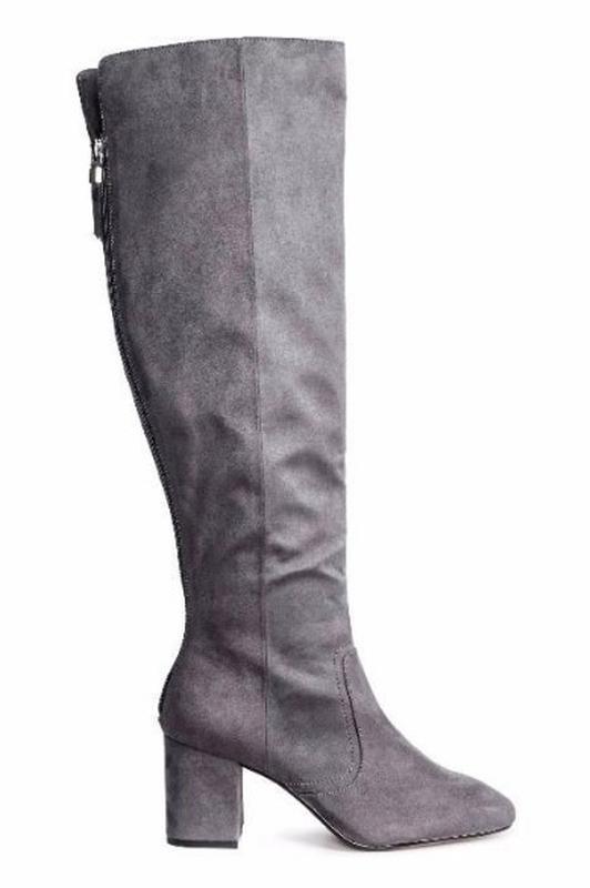 Стильные высокие сапоги серые h&m