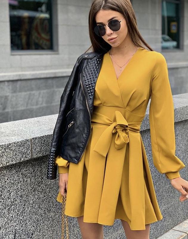 Платье новое горчица модное