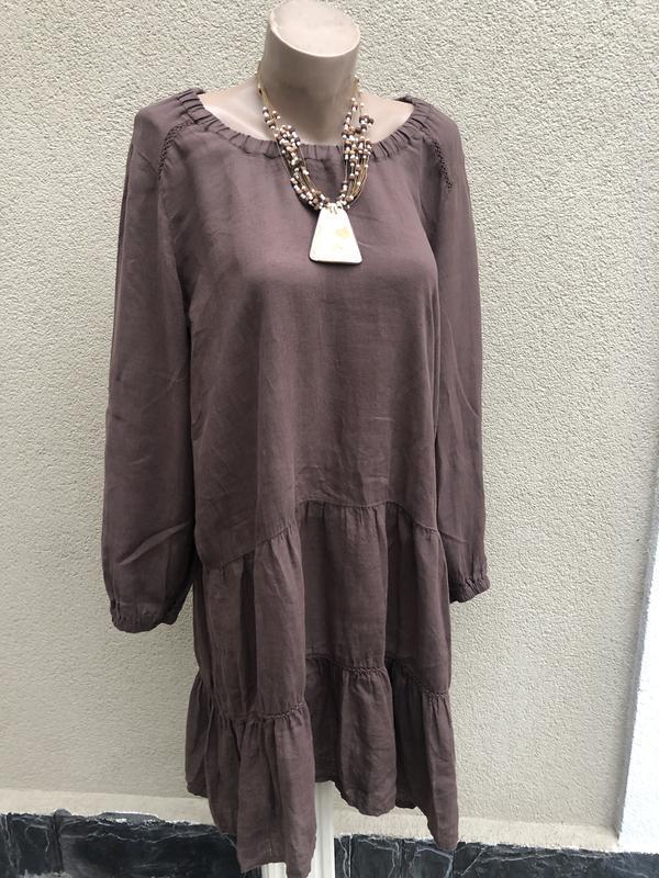 Коричневое,лён платье с воланами,этно,бохо стиль,италь,