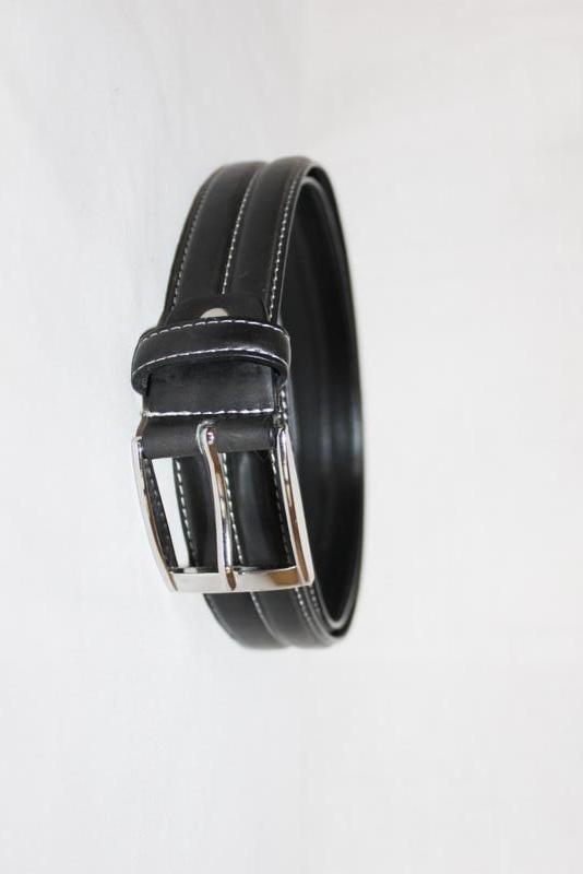 Ремень пояс чёрный эко кожа с белой строчкой , съёмная пряжка