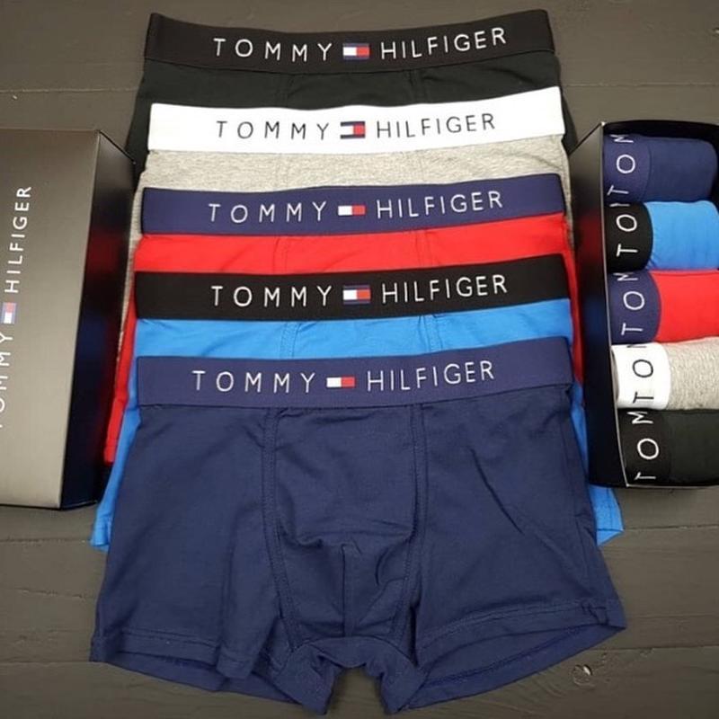 Набор боксеров tommy hilfiger из 5 шт серый, темно-синий, черн...
