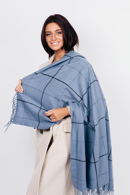 Теплый платок косынка плед голубой джинс в наличии