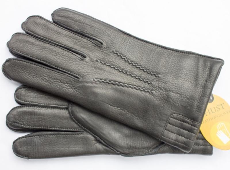 Мужские зимние перчатки из натуральной кожи оленя