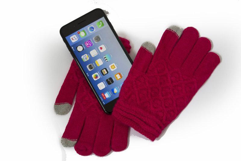 Женские сенсорные перчатки вязка малиновые