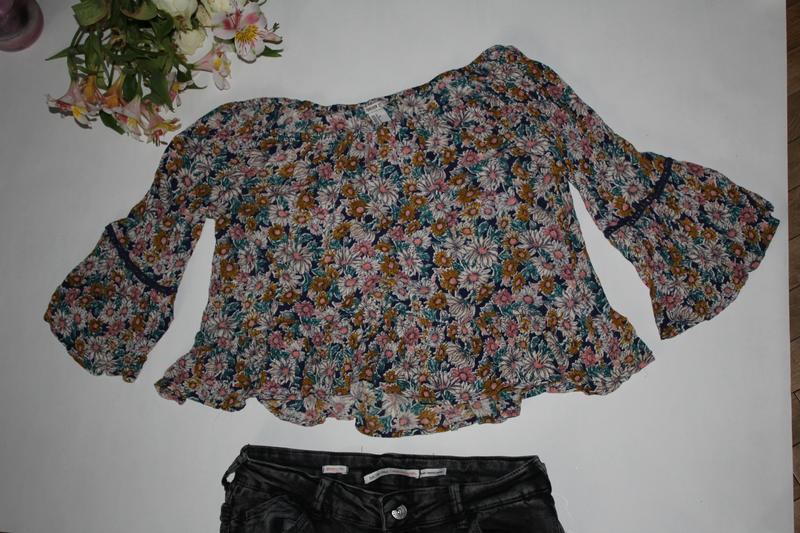 Кроп топ в квіти, футболка, укороченный  топ - Фото 2