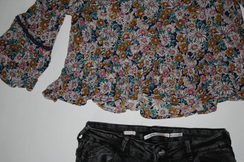 Кроп топ в квіти, футболка, укороченный  топ - Фото 3